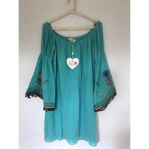 VaVa Joy Han Off Shoulder Turquoise BOHO Dress S